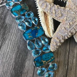 Copper Santa Rosa Turquoise & Blue Topaz Bracelet